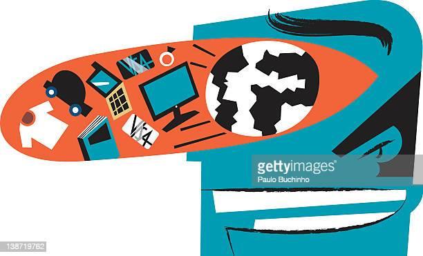 ilustrações de stock, clip art, desenhos animados e ícones de a profile of a man with an eye filled with various objects - buchinho
