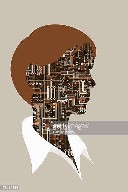 Profile of a man with circuitry