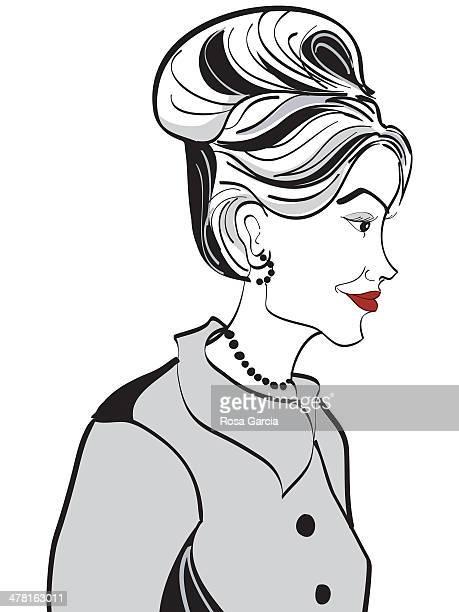 ilustraciones, imágenes clip art, dibujos animados e iconos de stock de a profile of a woman - mujeres de mediana edad