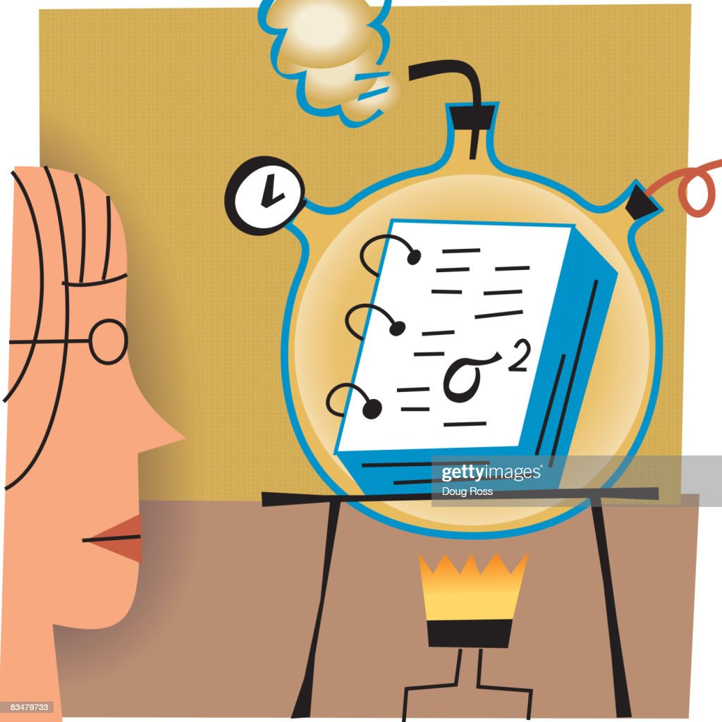 Profile of a woman looking at a science experiment with a book on a burner : Vector Art