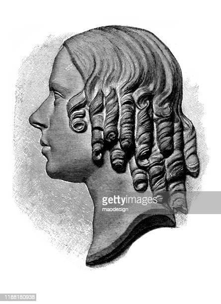 ilustrações, clipart, desenhos animados e ícones de perfil de uma mulher nova em um carving sculpted - 1887