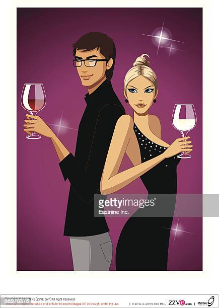 Profile of couple holding wine glass