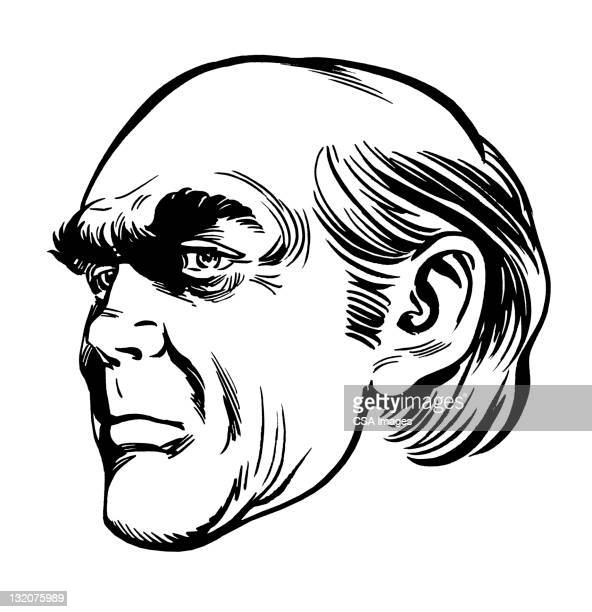 profile of creepy bald man - ugly bald man stock illustrations