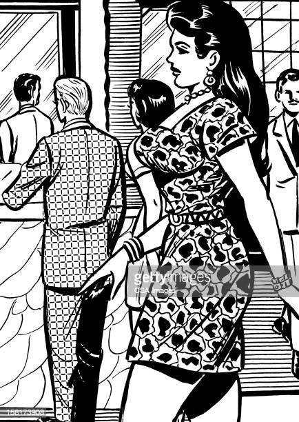 Profile of Dark Haired Woman Walking