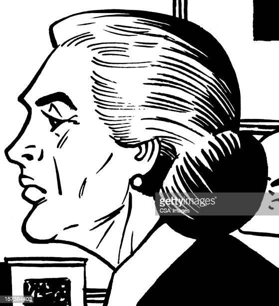 profile of elderly lady - updo stock illustrations, clip art, cartoons, & icons