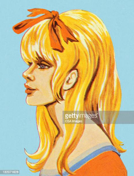 profile of groovy girl - one teenage girl only stock illustrations