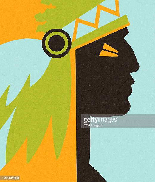profile of indian chief - headdress stock illustrations