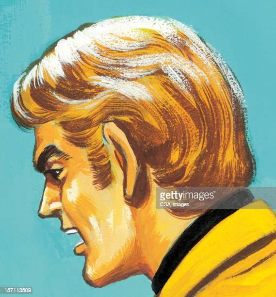 プロフィールの男性に黄色のジャケット