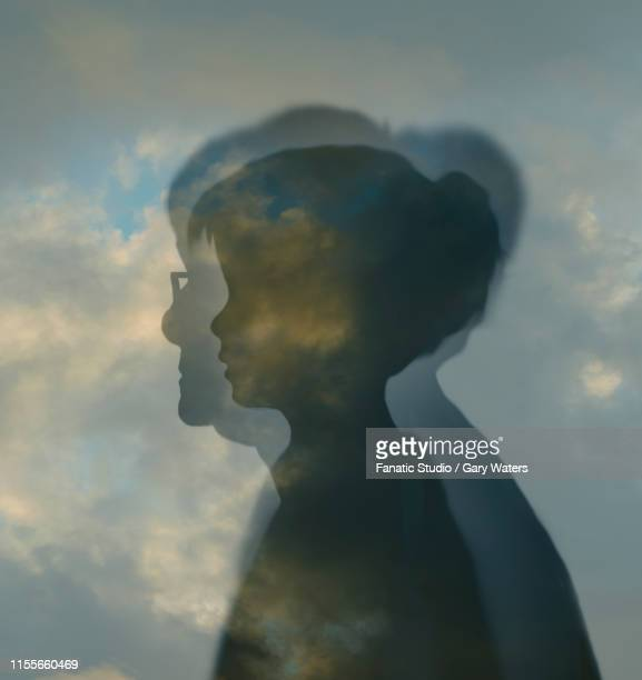 illustrations, cliparts, dessins animés et icônes de profile of young girl inside a profile of elderly woman against a cloudy sky depicting passing of time and ageing - mamie