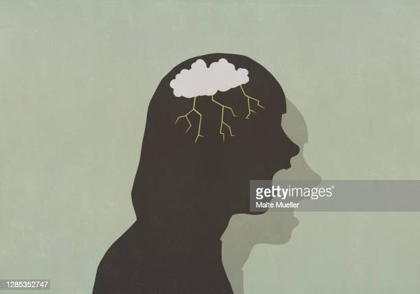 profile silhouette screaming woman with storm cloud in head - furious stock illustrations
