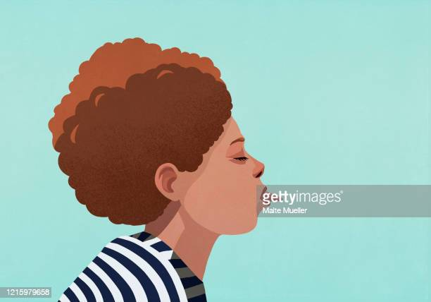 profile woman sticking out tongue - one young woman only stock illustrations