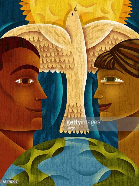 Profiles of a man and woman looking at each other,   with a dove and sun between them