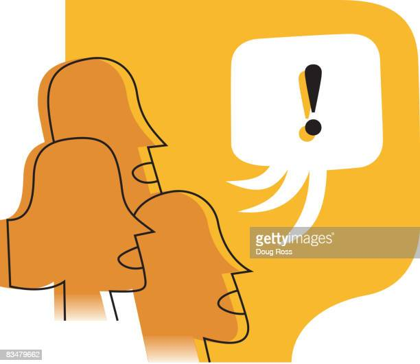 Profiles of three people talking and a single speech bubble with exclamation mark
