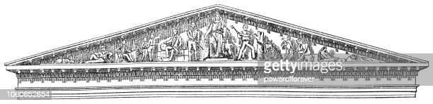 progress of civilization pediment in washington d.c., united states (1859) - pediment stock illustrations, clip art, cartoons, & icons