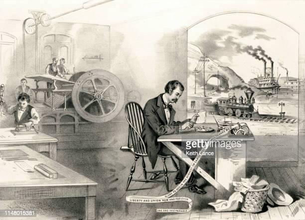 progress of the 19th century - telegram stock illustrations