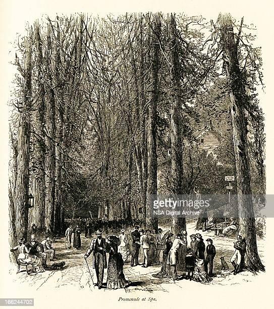 promenade at spa, belgium (antique wood engraving) - spa belgium stock illustrations