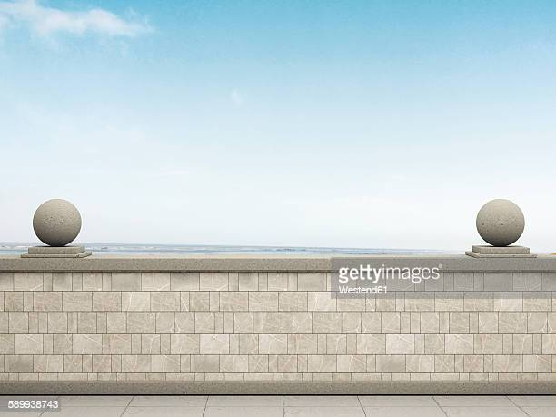 Promenade with view to the sea, 3D Rendering