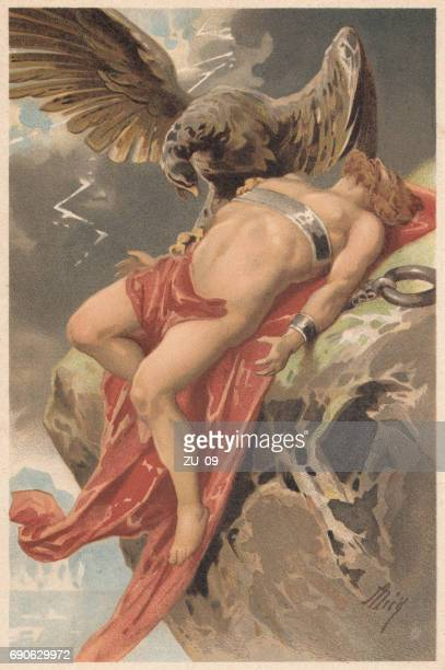 prometheus, tormented by an eagle, greek mythology, lithograph, published 1897 - ancient greece stock illustrations, clip art, cartoons, & icons