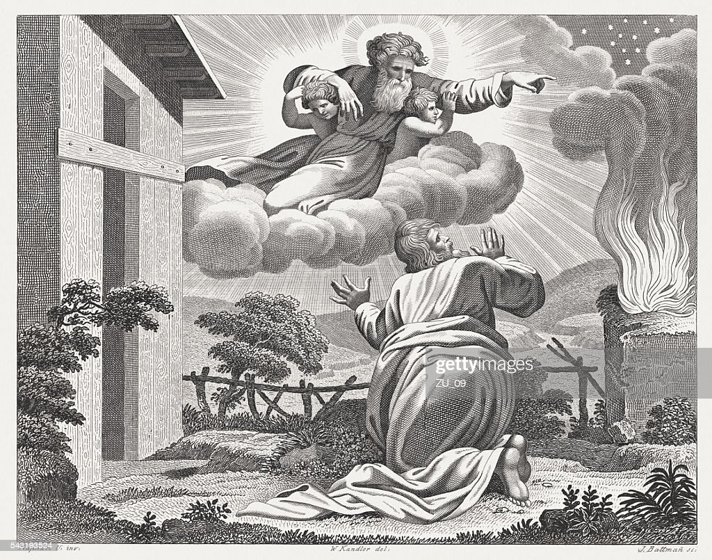 Promise to Abram (Genesis 15), steel engraving, published in 1841 : Stock Illustration