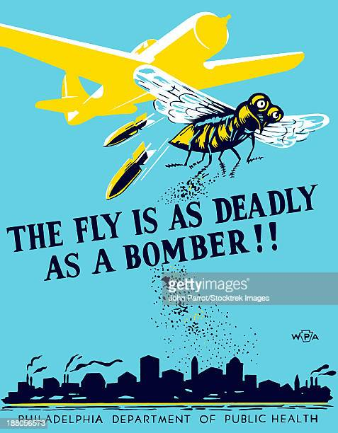 wpa propaganda poster of a bomber plane and a fly dropping germs. - us air force stock illustrations, clip art, cartoons, & icons
