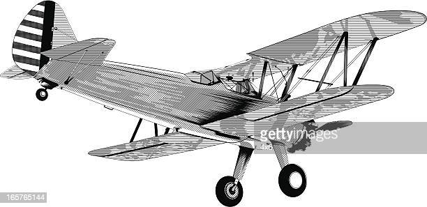 propeller airplane in flight - biplane stock illustrations, clip art, cartoons, & icons