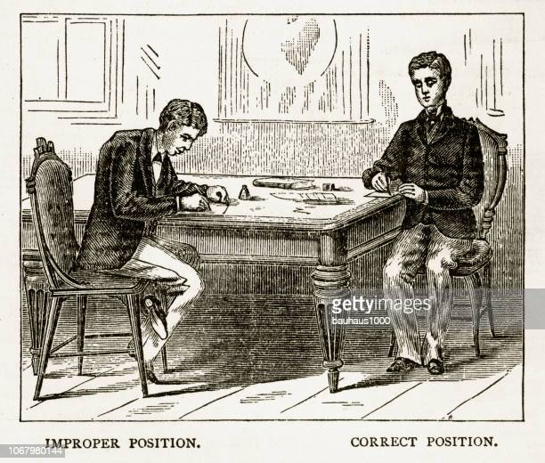 proper posture while sitting at a table victorian engraving, 1879 - social grace stock illustrations