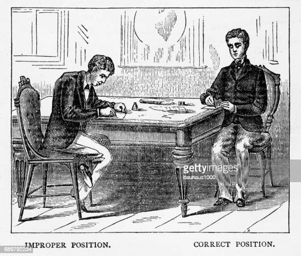 proper posture while sitting at a table victorian engraving, 1879 - bad posture stock illustrations, clip art, cartoons, & icons