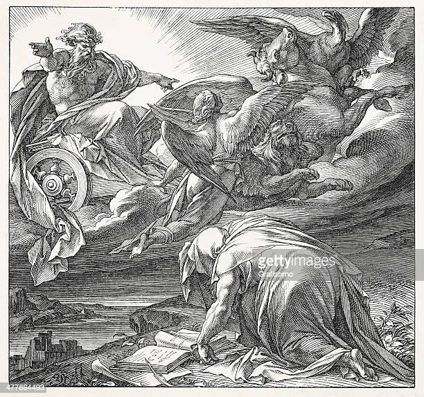 prophet ezekiel vision of four cherubim - biblical event stock illustrations