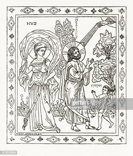 Profeet Jesaja die nacht en Aurora christelijke symboliek gravure