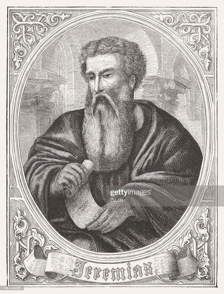 Prophet Jeremiah, wood engraving, published in 1868 : Stock Illustration