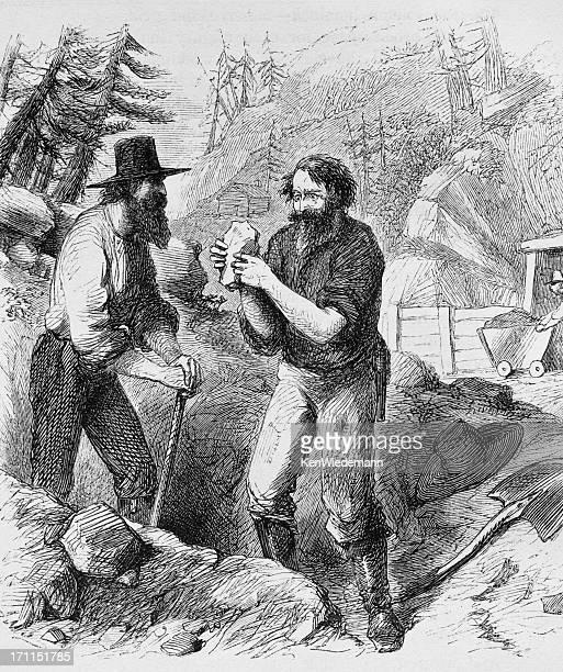 prospectors - gold rush stock illustrations