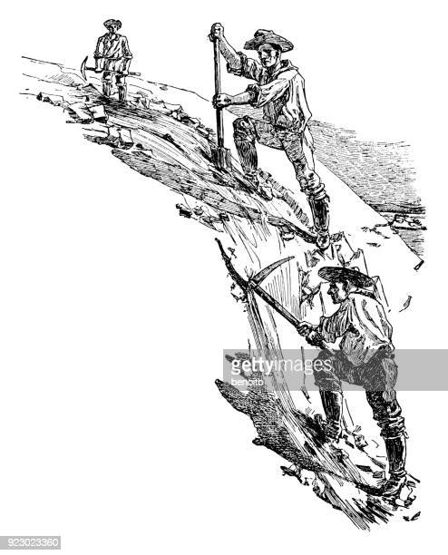 prospectors looking for gold - sluice stock illustrations
