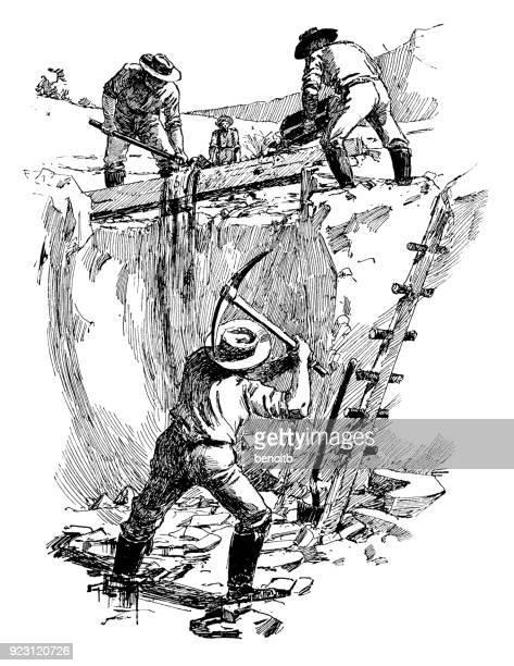 prospectors panning for gold - sluice stock illustrations