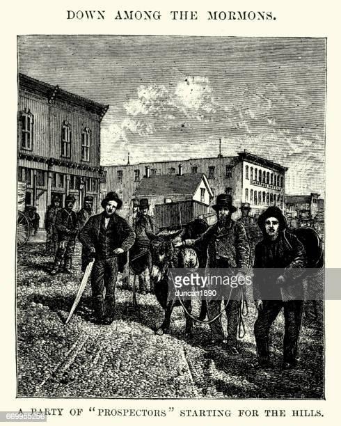 prospectors starting for the hills, utah, 19th century - gold rush stock illustrations