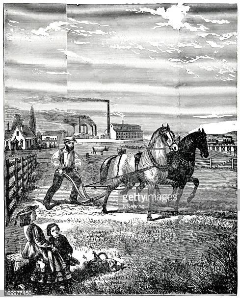 prosperous farm scene 1880 engraving - horsedrawn stock illustrations, clip art, cartoons, & icons