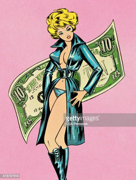 prostitute with money - prostitution stock illustrations, clip art, cartoons, & icons