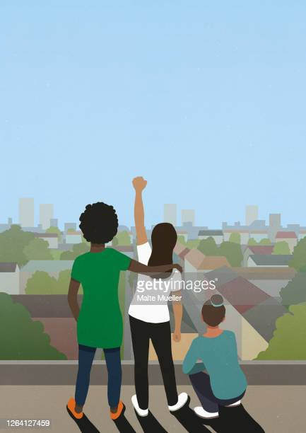 protest friends gesturing on city rooftop - rear view stock illustrations