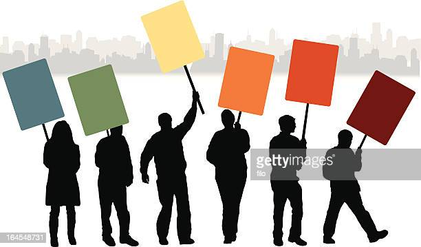 protest people - political rally stock illustrations, clip art, cartoons, & icons