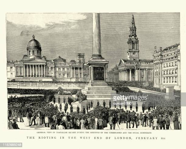 protest rally of unemployed and social democrats, trafalgar square, 1886 - political rally stock illustrations, clip art, cartoons, & icons