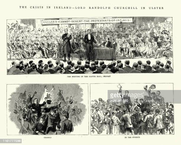 protestant meeting at ulster hall, belfast, 19th century - protestantism stock illustrations