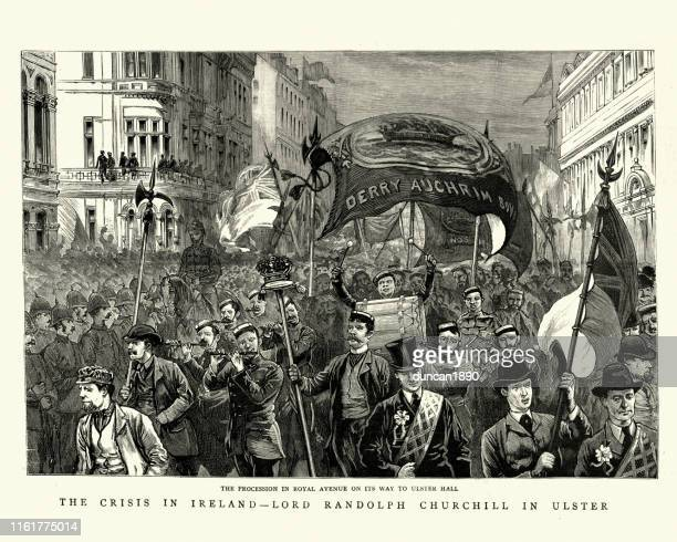 protestant procession to ulster hall, belfast, 19th century - protestantism stock illustrations