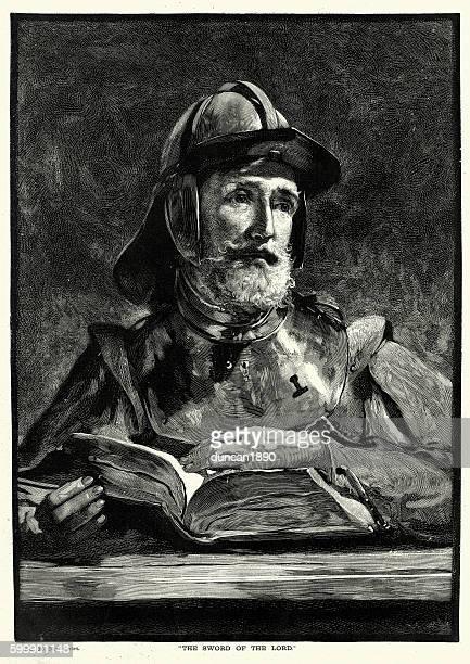 ilustraciones, imágenes clip art, dibujos animados e iconos de stock de protestant soldier reading the bible - personas leyendo la biblia