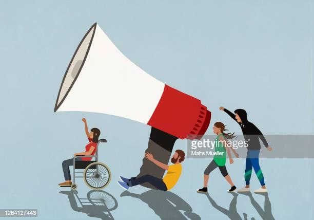 protesters with large megaphone - demonstrant stock-grafiken, -clipart, -cartoons und -symbole