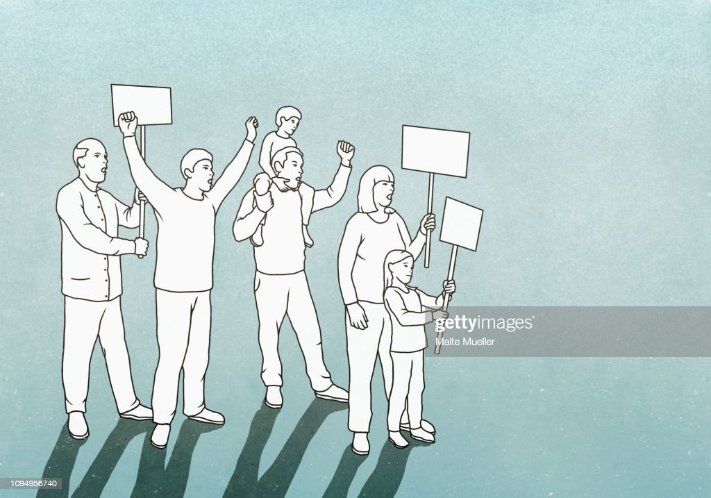 Protesters with signs : stock illustration