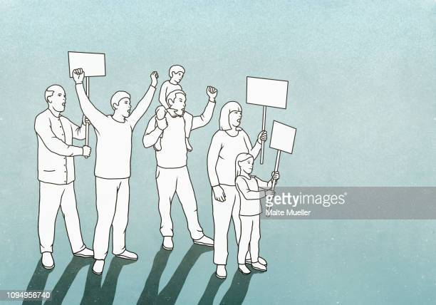 protesters with signs - demokratie stock-grafiken, -clipart, -cartoons und -symbole
