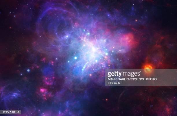 stockillustraties, clipart, cartoons en iconen met protogalaxy, illustration - nevels en gaswolken