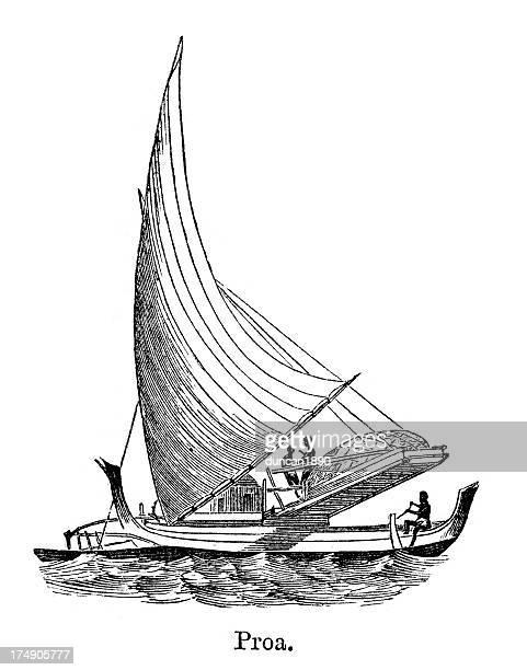 illustrations, cliparts, dessins animés et icônes de proa - voilier noir et blanc
