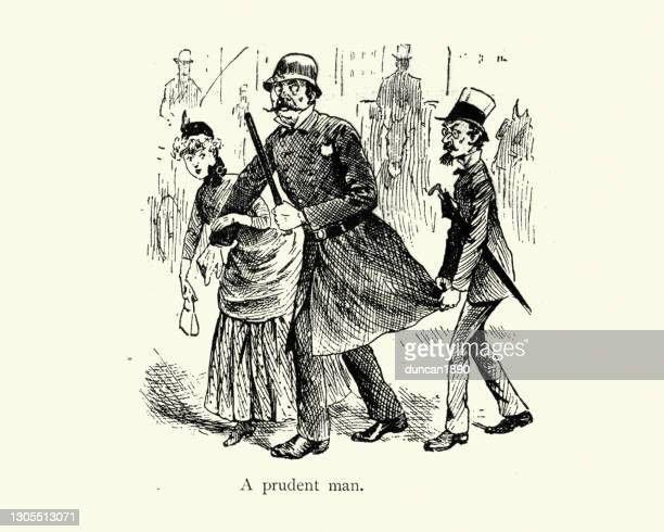 prudent man crossing a busy city road, victorian cartoon, 19th century - road marking stock illustrations
