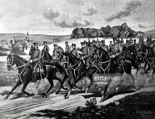 prussian cavalry on horses - 1887 stock illustrations, clip art, cartoons, & icons