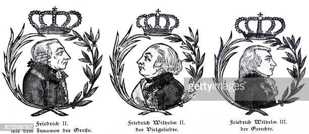 プロイセン王と自分の名前: フリードリヒ大王、フレデリック ・ ヴィルヘルム 2 世の寵愛、フリードリヒ ・ ウィルヘルム 3 世、公正な 1 つ - 聖年点のイラスト素材/クリップアート素材/マンガ素材/アイコン素材